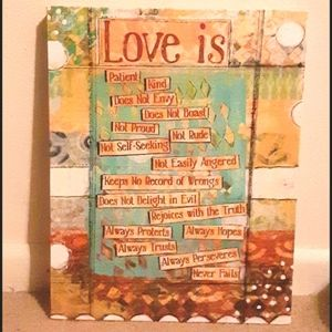 """Like new! """"Love is"""" hand painted canvas wall decor"""